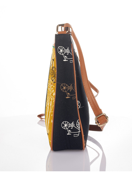 Handcrafted Black Yellow Cycle Print Sling Bag-4
