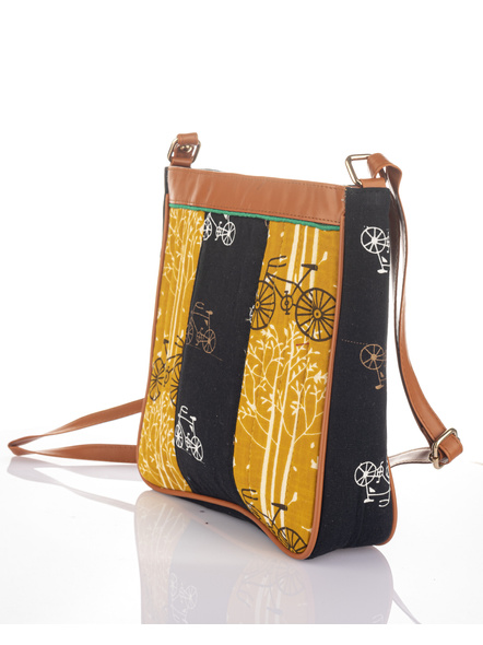 Handcrafted Black Yellow Cycle Print Sling Bag-2