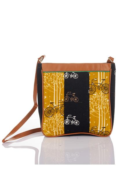 Handcrafted Black Yellow Cycle Print Sling Bag-LAAHSB011