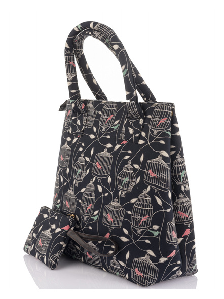 Handcrafted Stylish Black Bird Nest Print Tote Bag with Pouch-2