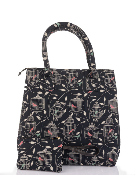 Handcrafted Stylish Black Bird Nest Print Tote Bag with Pouch-1