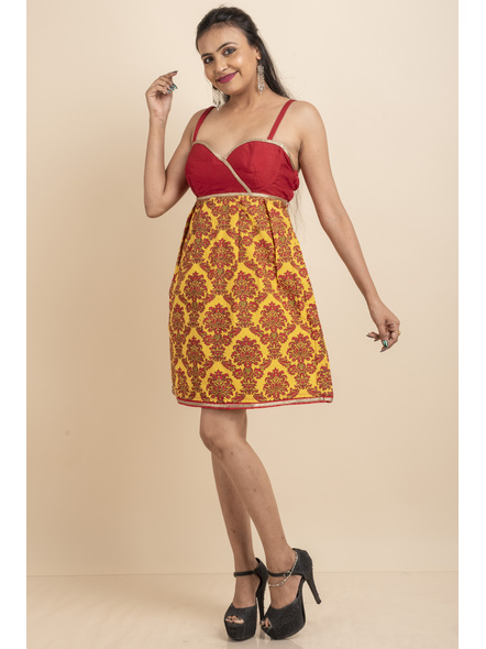Red & Yellow Printed Padded Dress with Lace-32-Cotton Silk & Printed Cotton-1