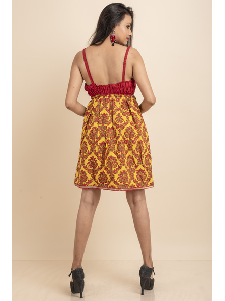 Red & Yellow Printed Padded Dress with Lace-32-Cotton Silk & Printed Cotton-2