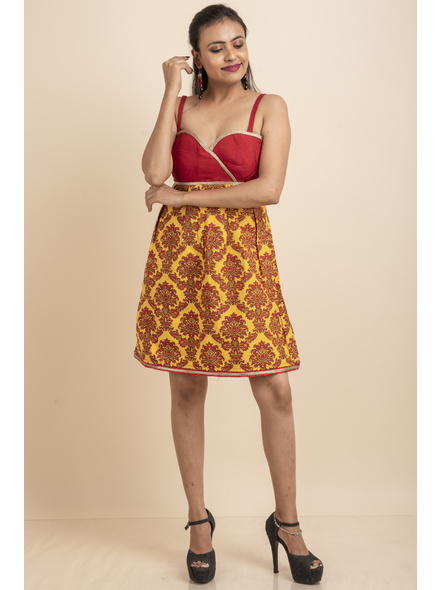 Red & Yellow Printed Padded Dress with Lace-LAASGD02