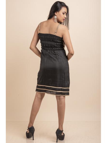 Designer Black Dress with Lace-32-Cotton Silk-3