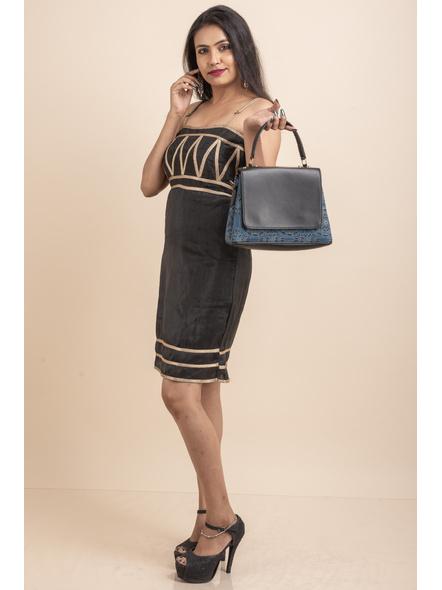 Designer Black Dress with Lace-32-Cotton Silk-2