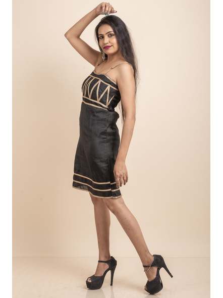 Designer Black Dress with Lace-32-Cotton Silk-1