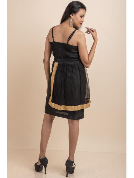 Designer Black Dress with Golden Lace & Net-32-Cotton Silk & Net-3