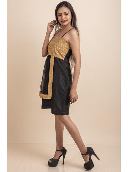 Designer Black Dress with Golden Lace & Net-32-Cotton Silk & Net-1