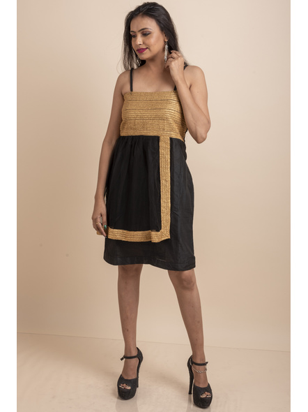 Designer Black Dress with Golden Lace & Net-LAASGD04