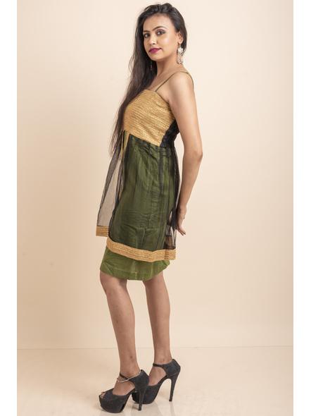 Designer Green Dress with Golden Lace & Net-32-Cotton Silk & Net-1