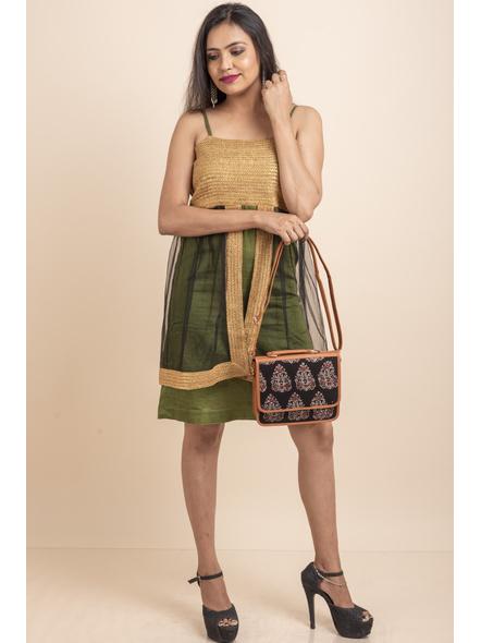 Designer Green Dress with Golden Lace & Net-32-Cotton Silk & Net-2