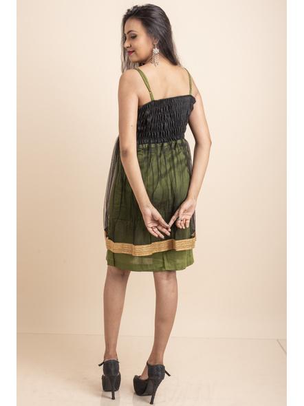 Designer Green Dress with Golden Lace & Net-32-Cotton Silk & Net-3