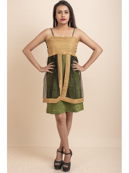 Designer Green Dress with Golden Lace & Net-LAASGD05