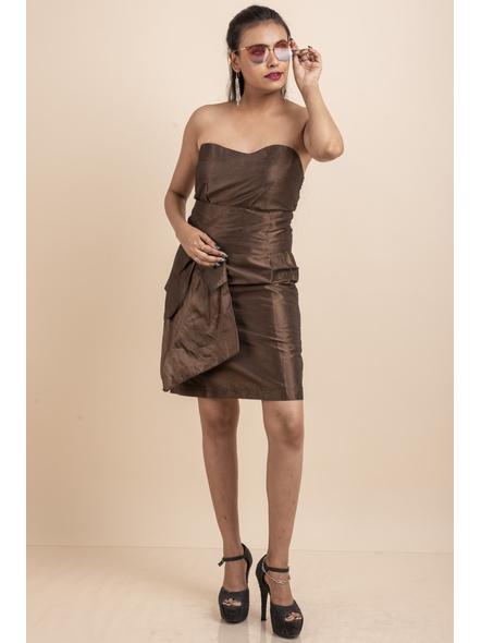 Off Shoulder Brown Dress-LAASGD06