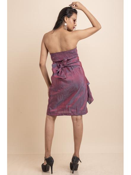 Off Shoulder Dual Tone Pink-Blue Dress-32-Cotton Silk-2