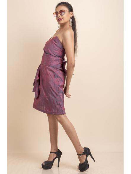 Off Shoulder Dual Tone Pink-Blue Dress-32-Cotton Silk-1