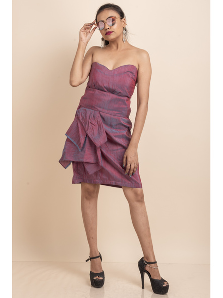 Off Shoulder Dual Tone Pink-Blue Dress-LAASGD07
