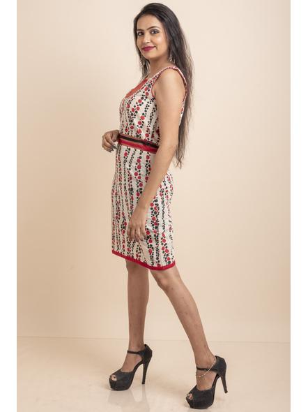 Hand Painted Red-Black Kora Polka Dot Print Dress-32-Kora Cotton-1