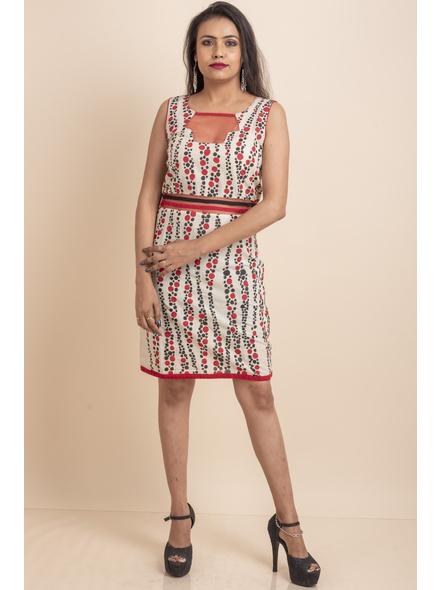 Hand Painted Red-Black Kora Polka Dot Print Dress-LAASGD08