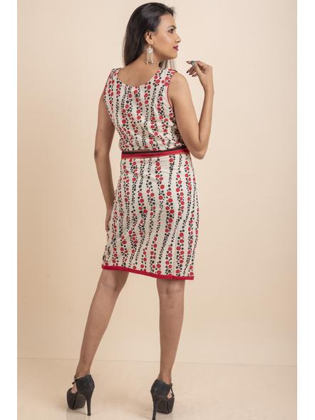 Hand Painted Red-Black Kora Polka Dot Print Dress-32-Kora Cotton-2