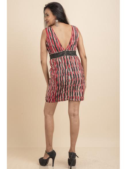 Deep Neck Hand Painted Red & Black Pin-tuck Dress-32-Kora Cotton-3