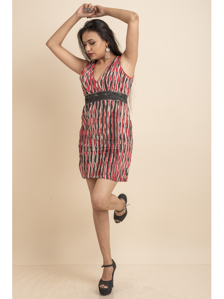 Deep Neck Hand Painted Red & Black Pin-tuck Dress-LAASGD09