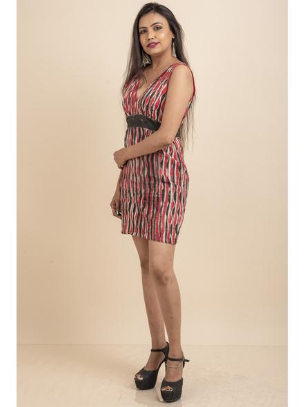 Deep Neck Hand Painted Red & Black Pin-tuck Dress-32-Kora Cotton-1