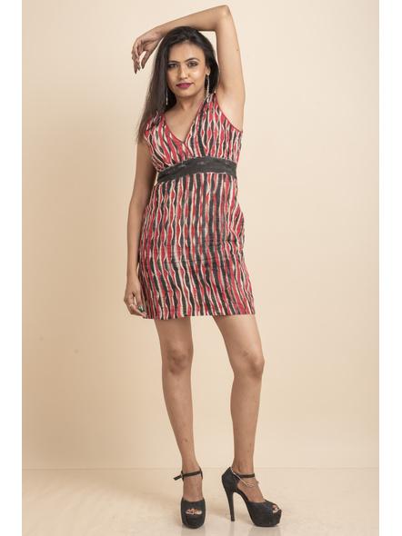 Deep Neck Hand Painted Red & Black Pin-tuck Dress-32-Kora Cotton-2