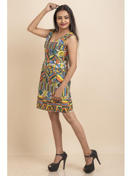 Scoop Necl Handpainted Geometric Pattern Dress-32-Kora Cotton-1