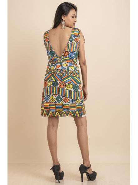 Scoop Necl Handpainted Geometric Pattern Dress-32-Kora Cotton-2