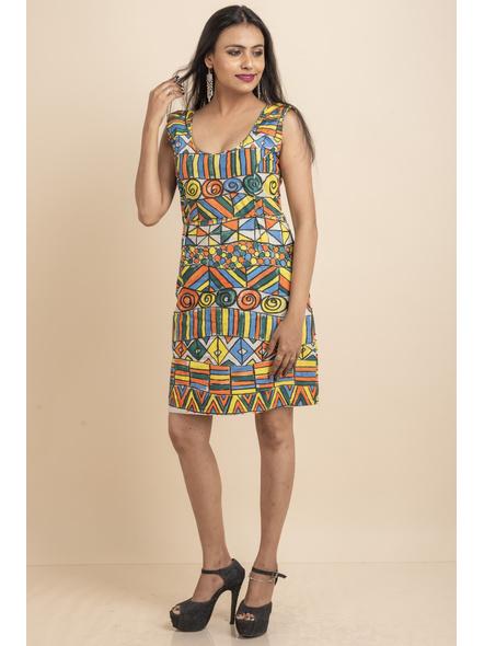 Scoop Necl Handpainted Geometric Pattern Dress-LAASGD10