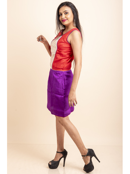 Purple-Red off-White Dress-32-Cotton Silk-1