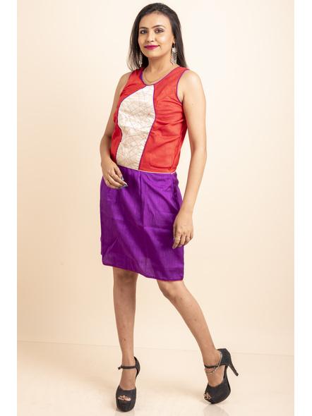 Purple-Red off-White Dress-LAASGD11