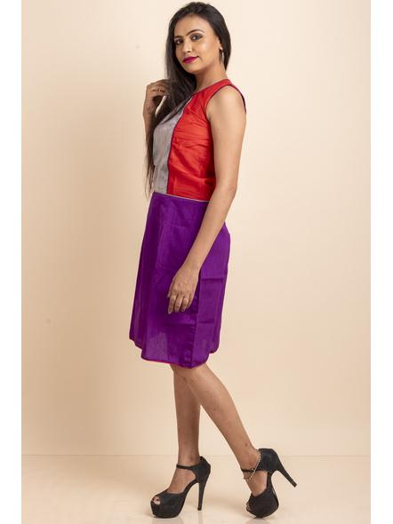 Purple-Red Grey Dress-32-Cotton Silk-1