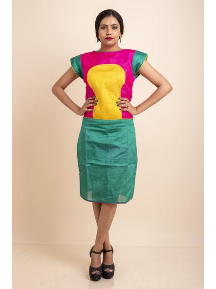 Pink Yellow Green Dress-LAASGD13