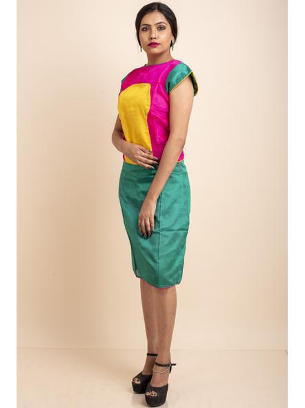 Pink Yellow Green Dress-32-Cotton Silk-1
