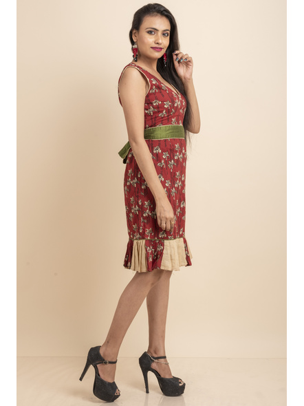 Maroon Flora Dress with Green Belt-32-Printed Cotton-1