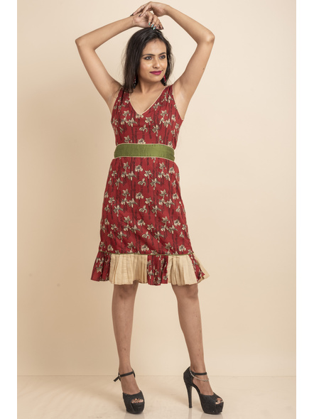 Maroon Flora Dress with Green Belt-LAASGD14