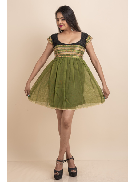 Deep Neck Black Chikon Work & Green Dress with Lace-LAASGD15