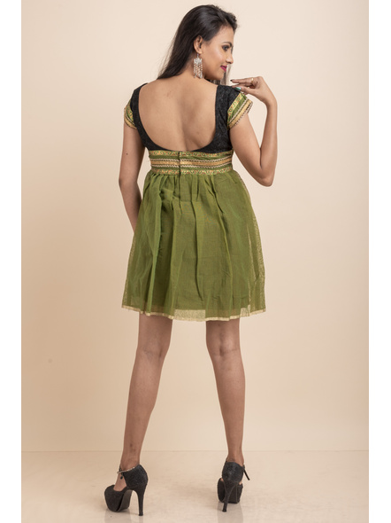 Deep Neck Black Chikon Work & Green Dress with Lace-32-Chikon Work Fabric and Cotton-4