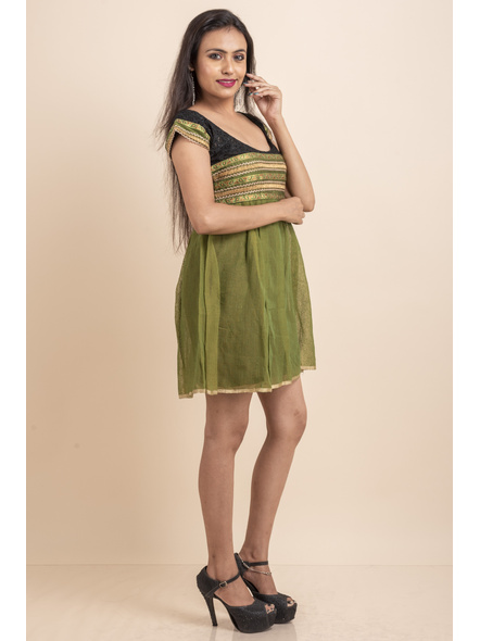 Deep Neck Black Chikon Work & Green Dress with Lace-32-Chikon Work Fabric and Cotton-1