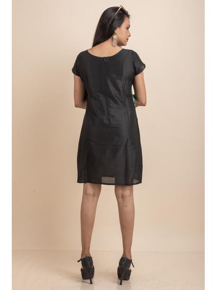 Aqua Floral Net Black Dress-32-Designer Net & Cotton Silk-3
