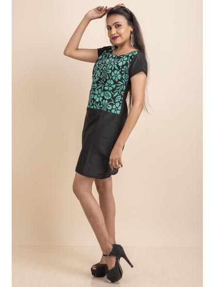 Aqua Floral Net Black Dress-32-Designer Net & Cotton Silk-2