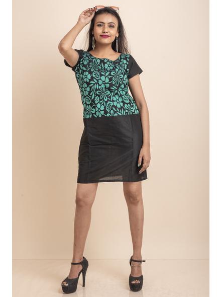 Aqua Floral Net Black Dress-LAASGD16