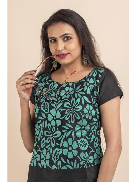 Aqua Floral Net Black Dress-32-Designer Net & Cotton Silk-1