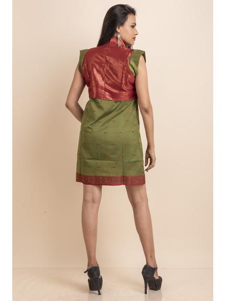Brocade with Green Saree Silk Dress-32-Brocade & Silk Saree Fabric-3