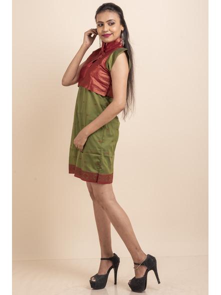 Brocade with Green Saree Silk Dress-32-Brocade & Silk Saree Fabric-2