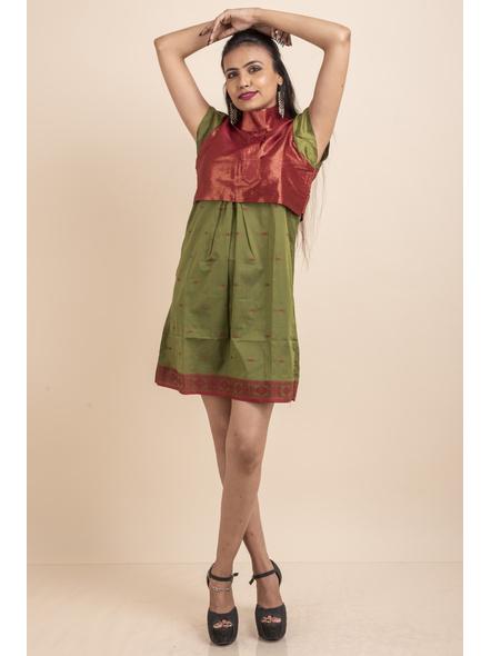 Brocade with Green Saree Silk Dress-32-Brocade & Silk Saree Fabric-1