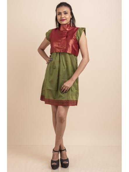 Brocade with Green Saree Silk Dress-LAASGD18